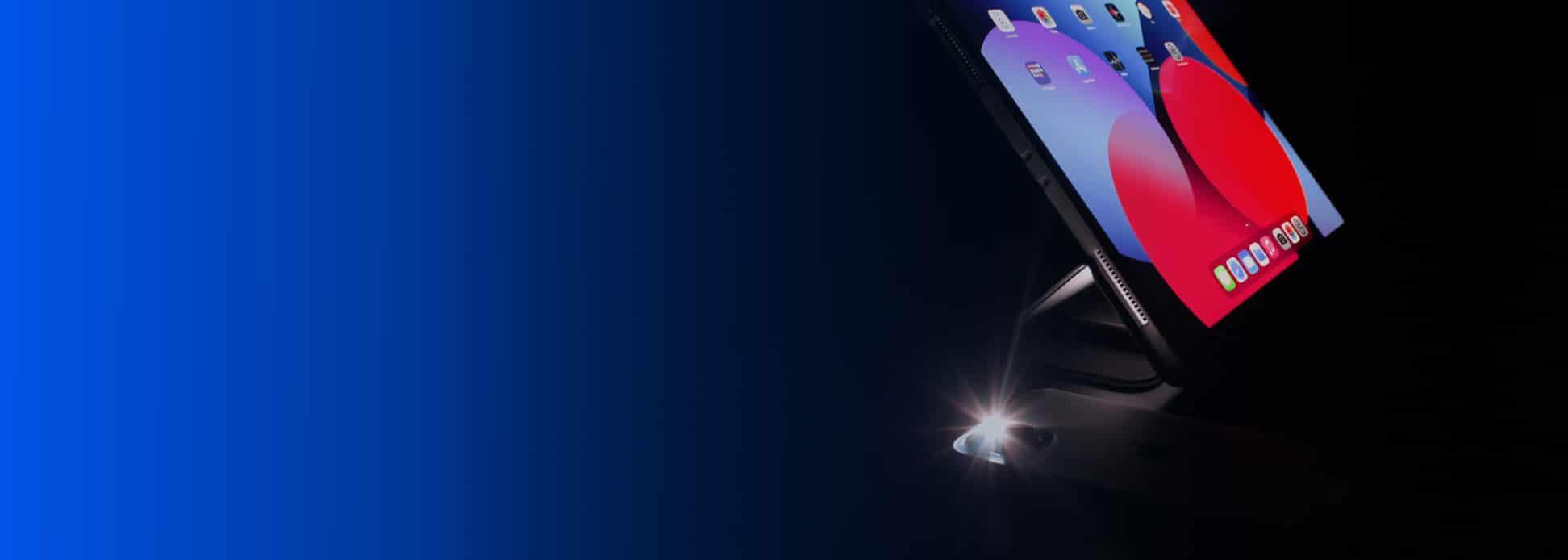 ipad und iphone mit taschenlampe schwarz blau